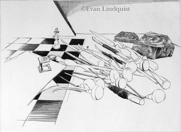 Evan Lindquist artist-printmaker, Engraving Tools and Chess Board, copperplate engraving