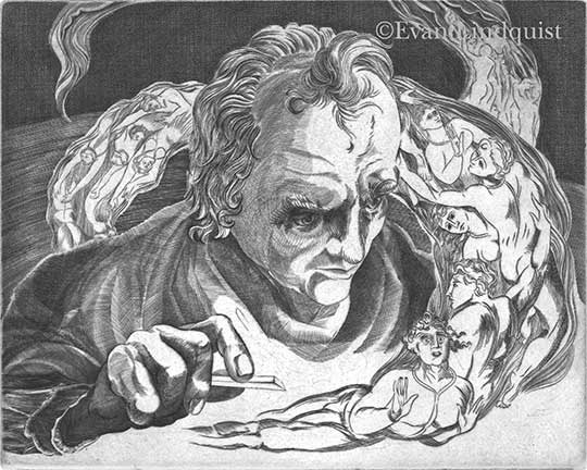 Evan Lindquist artist-printmaker, William Blake Engraves The Inferno, copperplate engraving