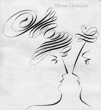 Evan Lindquist artist-printmaker, Conversation: Goddess and Emperor, copperplate engraving