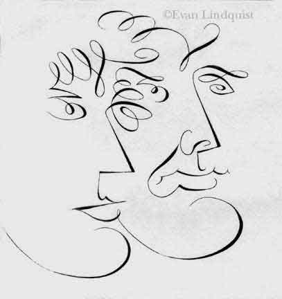 Evan Lindquist artist-printmaker, Conversation: Male and Female, copperplate engraving