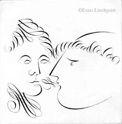 Evan Lindquist artist-printmaker, Conversation: Queen and Priest, copperplate engraving