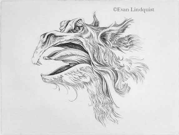 Evan Lindquist artist-printmaker, First Monster Portrait, copperplate engraving, visions