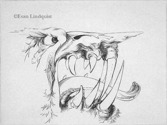 Evan Lindquist artist-printmaker, Second Monster Portrait, copperplate engraving, visions