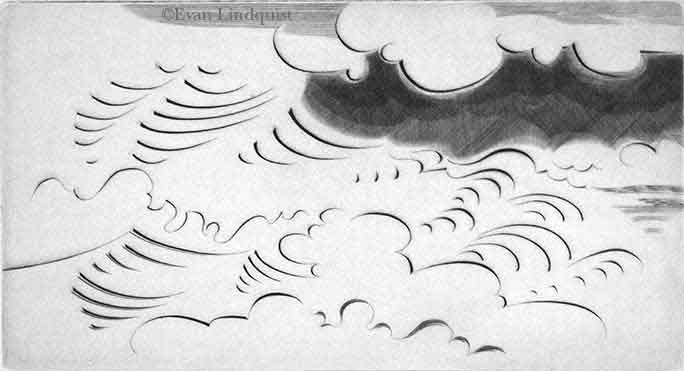 Evan Lindquist artist-printmaker, Adventure: Surf, copperplate engraving, calligraphic line