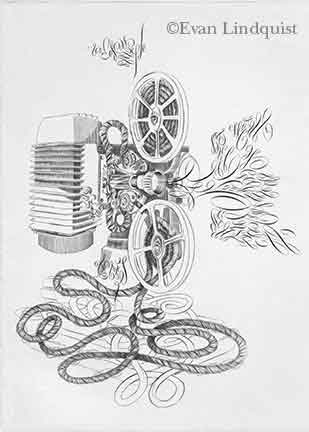 Evan Lindquist artist-printmaker, Document: Projector, copperplate engraving, calligraphic line
