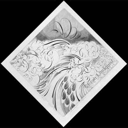 Evan Lindquist artist-printmaker, Energy, copperplate engraving, calligraphic line