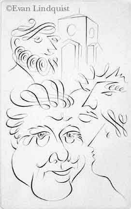 Evan Lindquist artist-printmaker, President (Bill Clinton) and Scholars, copperplate engraving, calligraphic line