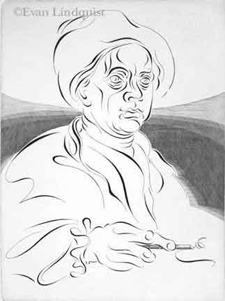 Evan Lindquist artist-printmaker, William Hogarth Engraves a Line of Beauty, copperplate engraving, calligraphic line