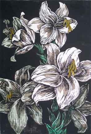 Evan Lindquist, color woodcut, Lily copyright 1983