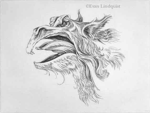 Evan Lindquist artist-printmaker, First Monster Portrait, copperplate engraving, imaginary fauna, cryptofauna