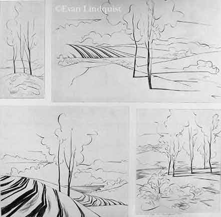 Evan Lindquist artist-printmaker, Four View of the Ridge, copperplate engraving on four plates, flora