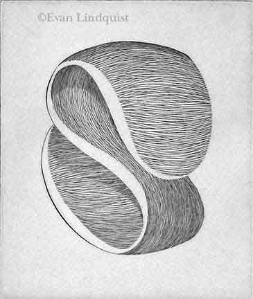 Evan Lindquist artist-printmaker, Forces I, copperplate engraving, string theory