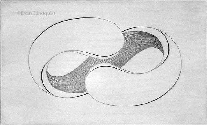 Evan Lindquist artist-printmaker, Forces II, copperplate engraving, string theory