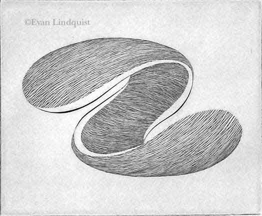 Evan Lindquist artist-printmaker, Forces III, copperplate engraving, string theory