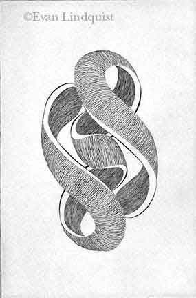 Evan Lindquist artist-printmaker, Forces V, copperplate engraving, string theory