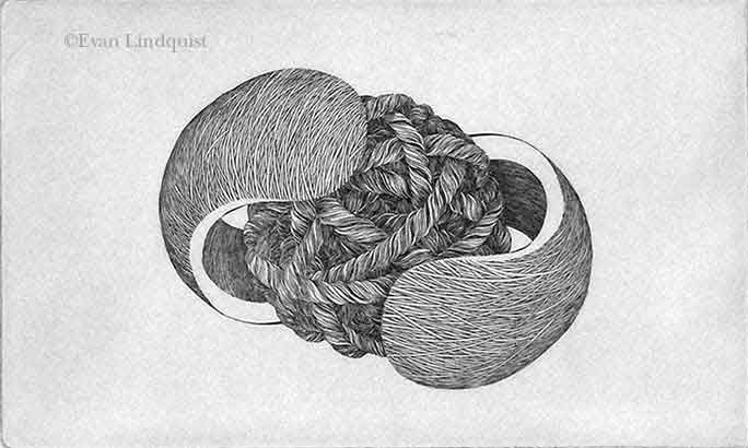 Evan Lindquist artist-printmaker, Forces IX, copperplate engraving, string theory