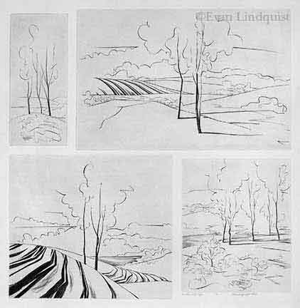 Evan Lindquist artist-printmaker, Four View of the Ridge, copperplate engraving