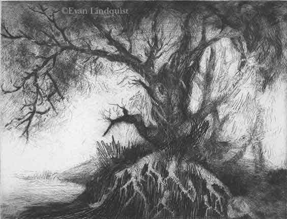 Evan Lindquist artist-printmaker, View at the Entrance, copperplate etching