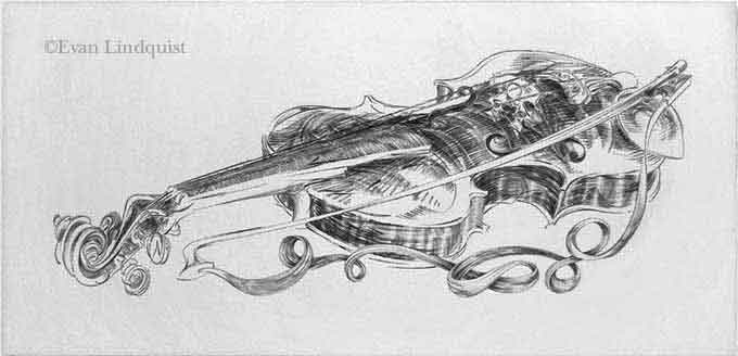 Artist printmaker the violin copperplate engraving about music