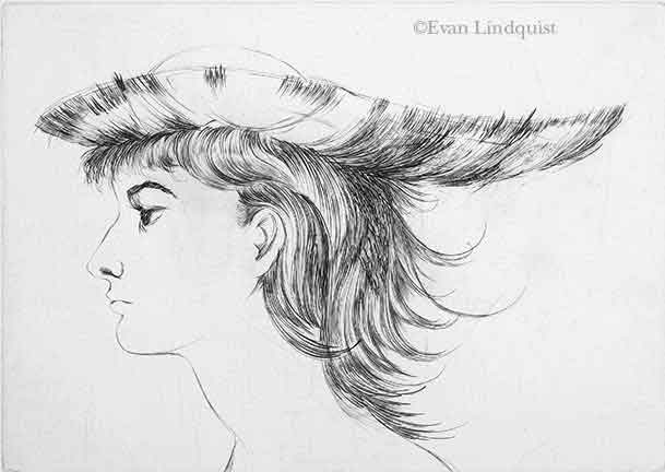Evan Lindquist artist-printmaker, Sharon with a Hat, burin engraving, 1965, portrait