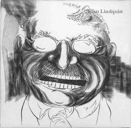 Evan Lindquist artist-printmaker, Theo Roosevelt 1990, copperplate engraving, portrait