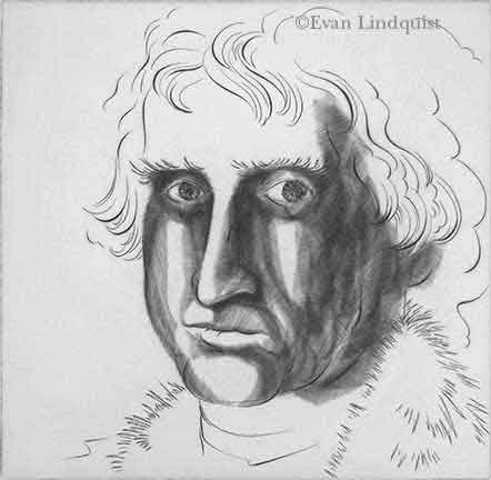 Evan Lindquist artist-printmaker, Thos Jefferson, 1990, burin engraving, portrait
