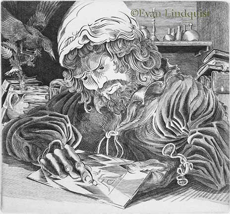 Evan Lindquist artist-printmaker, Albrecht Dürer Engraves His Initials, copperplate engraving