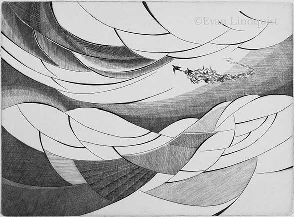 Evan Lindquist artist-printmaker, Journey, copperplate engraving