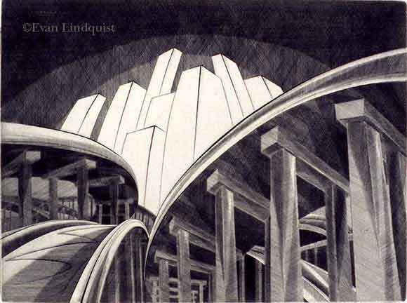 Evan Lindquist artist-printmaker, Scenic Route, South, line engraving on copper plate, labyrinthine maze