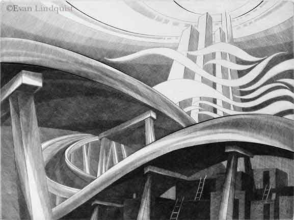 Evan Lindquist artist-printmaker, Scenic Route, Southwest, burin engraving on copper plate, labyrinthine maze