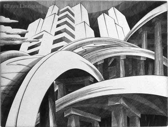 Evan Lindquist artist-printmaker, Scenic Route, West, copperplate engraving, labyrinthine maze
