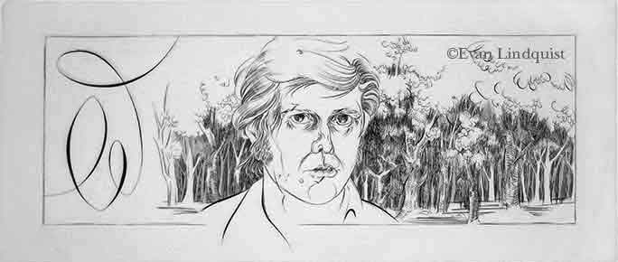 Evan Lindquist artist-printmaker, Document: Schema (self-portrait), copperplate engraving