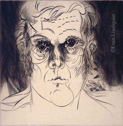 Evan Lindquist artist-printmaker, Self Portrait (in 1979), copperplate engraving