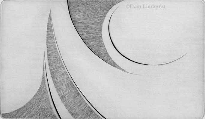 Evan Lindquist artist-printmaker, Spatial Dimensions, Expansion, copperplate engraving