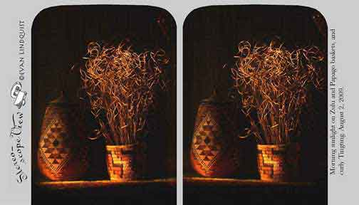Evan Lindquist artist-printmaker, stereoview card, Zulu baskets