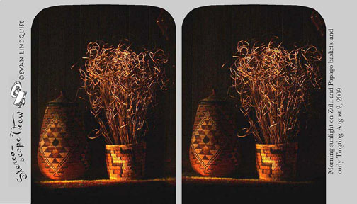 Evan Lindquist artist-printmaker, stereoview, baskets in early morning light