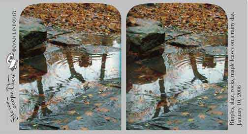 Evan Lindquist artist-printmaker, stereoview card, Ripples