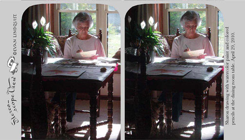 Evan Lindquist artist-printmaker, Sharon drawing, stereo view