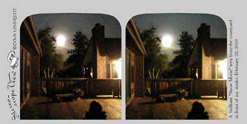 Evan Lindquist artist-printmaker, stereoview card, snow moon in front of my studio