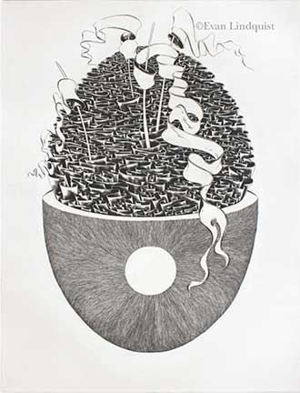 Evan Lindquist artist-printmaker, Conscience, copperplate engraving, string theories