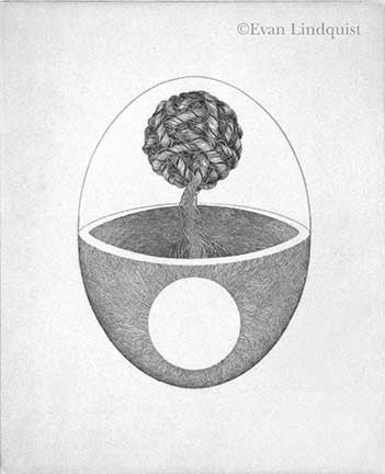 Evan Lindquist artist-printmaker, Consciousness, copperplate engraving, string theories