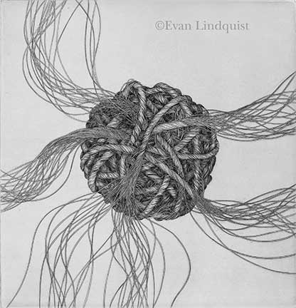 Evan Lindquist artist-printmaker, Creation, copperplate engraving, string theories