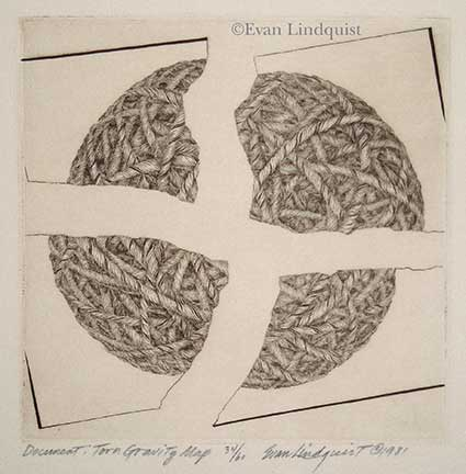 Evan Lindquist artist-printmaker, Document: Torn Gravity Map, copperplate engraving, string theories