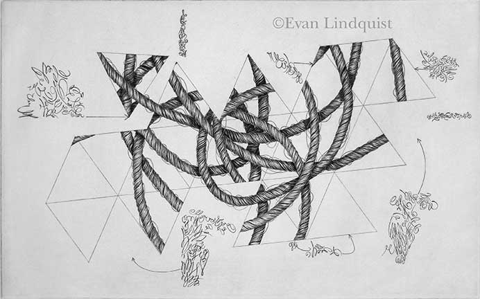 Evan Lindquist artist-printmaker, Document, copperplate engraving, string theories