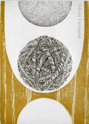 Evan Lindquist artist-printmaker, Gravity Descending, copperplate engraving with relief color wood block, string theories