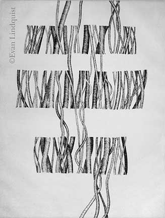 Evan Lindquist artist-printmaker, Perception, copperplate engraving, string theories
