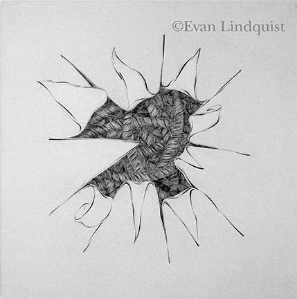Evan Lindquist artist-printmaker, Contemplation: Point of View, copperplate engraving, string theories