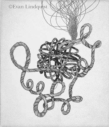 Evan Lindquist artist-printmaker, Thought II, copperplate engraving, string theories