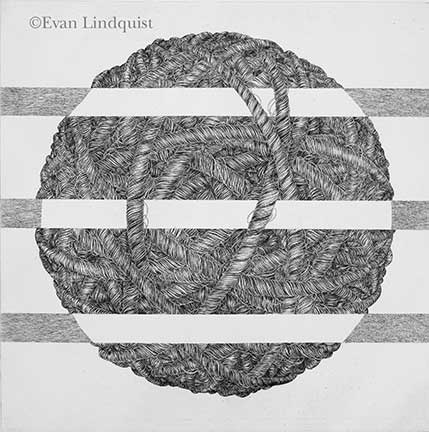 Evan Lindquist artist-printmaker, Thought V, copperplate engraving, string theories