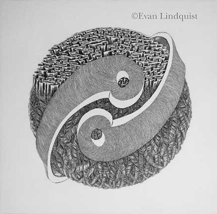 Evan Lindquist artist-printmaker, Thought VI, copperplate engraving, string theories